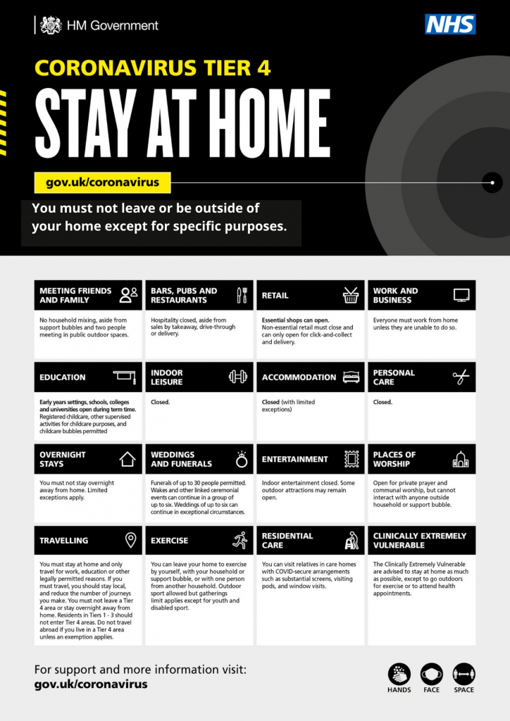 black and yellow graphic with Tier 4 Covid-19 guidance